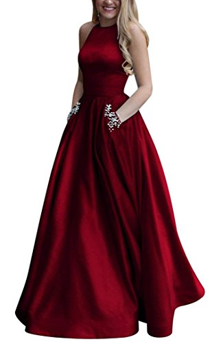 Gricharim Women's Long Beaded Halter Satin Prom Dress A Line Open Back Evening Gowns with Pockets Burgundy US6