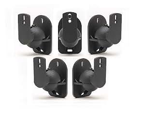 TechSol 5 Pack de Negro Altavoz universal para montaje en pared soportes