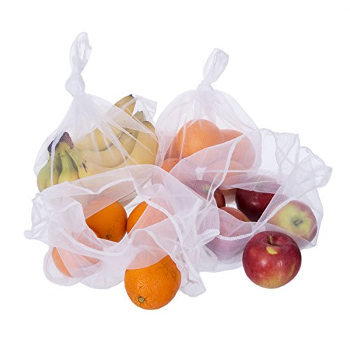 Planet E Reusable Mesh Produce Bags - Transparent and Lightweight Easily Washable Made of Recycled Plastic (Pack of 8)