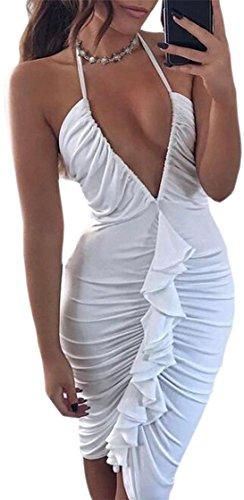 Jaycargogo Courroie De Spaghetti De Mode V-cou Robe Club Froissée Moulante Féminin Blanc