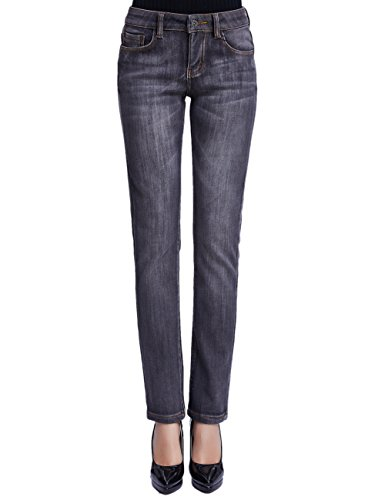 - Camii Mia Women's Thermal Slim Fit Winter Fleece Lined Jeans (W26 x L30, Grey (New Size))