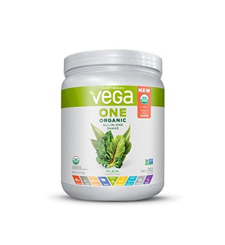 Vega One Organic All-in-One Shake Plain Unsweetened (10 servings, 13.5 oz) - Plant Based Vegan Protein Powder, Non Dairy, Gluten Free, Stevia Free, Non GMO