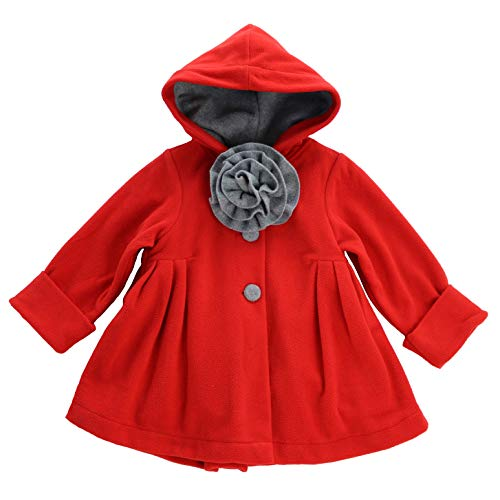 Maria Elena - Toddlers and Girls Jessie Double Fleece Hooded Swing Jacket | Bright Red Size 2T -
