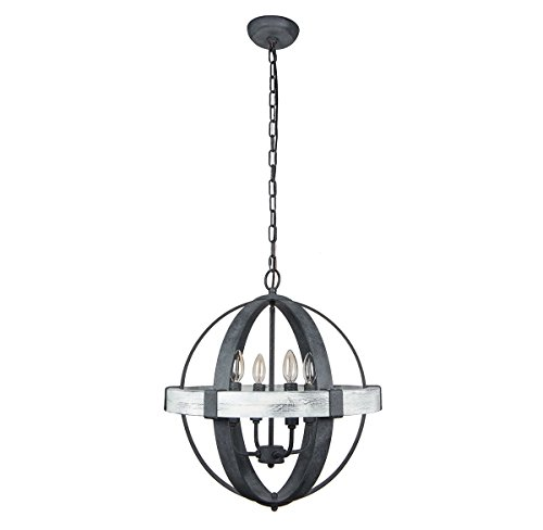 Parrot Uncle 4-Light Wooden Castello Black Pendant Chandelier with Adjustable Chain Dia 22'' Wood & Rust Metal Light with Candle Holder Pendant Ceiling for Living Room,Iron - Eileen Lamp Gray