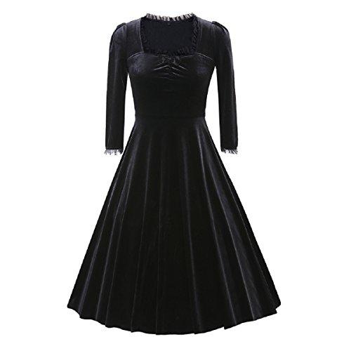 iShine Vestido para Mujer Corto Retro Vintage 1950s con Mangas 3/4 Vestido de Noche de Terciopelo Negro