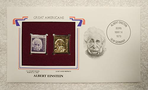 Albert Einstein - Great Americans - Postage Stamp (1966) & 22kt Gold Replica Stamp plus Info Card - Postal Commemorative Society, 2001 - Physicist, Physics, Nobel Prize, Theory of Relativity, Atomic Bomb