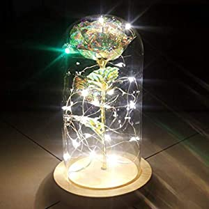 ♛Euone Clearance♛, Beauty and The Beast Romantic Simulation Rose Glass Cover Led Micro Landscape 12