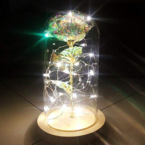MaxFox Artificial Flowers with Light String ,Romantic Valentine's Day Rose Glass Cover Led Micro Landscape for Table Decor (Multicolor) -