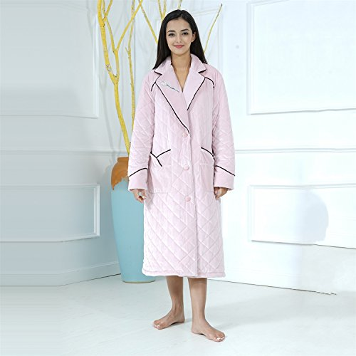 Bathrobe Ladies Nightgown Knitted Cotton Super Soft Thick Bath Robe Two Front Pockets Nightgown Gym Shower Spa Hotel Pink Robe Holiday Present ( Size : XL ) by yan