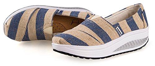 Ausom Donna Slip-on Canvas Zeppe Piattaforma Casual Tonificante Scarpe A Piedi Fitness Allenarsi Sneaker Grigio