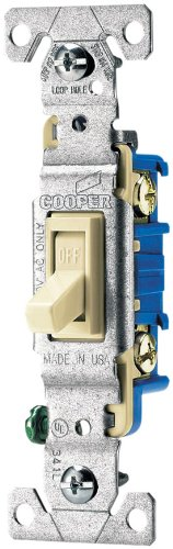 Eaton 1301 7A Sp 15 Amp 120 Volt Standard Grade Single Pole Toggle Switch With Push And Side Wiring  Non Grounding  Almond