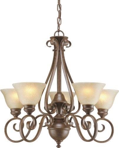 Forte Lighting 114824 2214-05-17Chandelier with Gold Dust Glass Shades, 28
