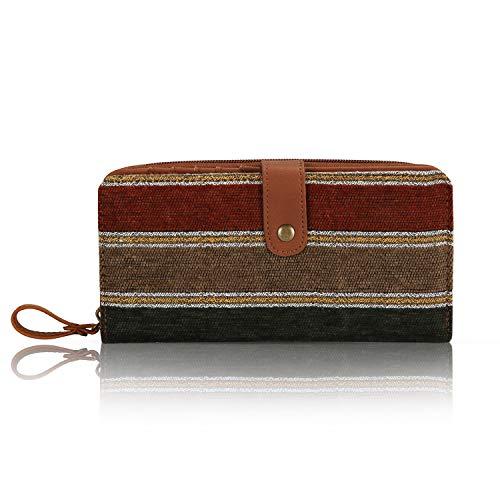 IDAILU Wallet for Women Clutch Boho Fabric PU Leather Cellphone Card Money Organizer Ladies Handbags (Brown striped)