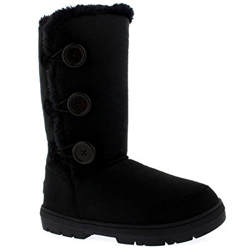Mujer 3 Botón Clásico Lluvia Nieve Forrada De Piel Zapato Invierno Bota Negro