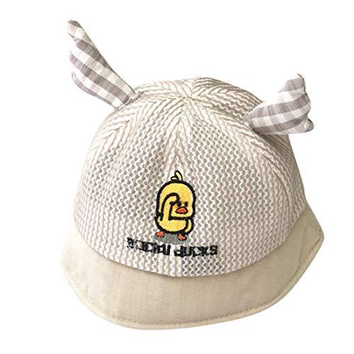 Children Kid Baby Boy Girl Breathable Mesh Hat Cartoon Embroidery Hat Visor Cap Fisherman's Hat Sun Cap(2-10 Years) (Khaki, Hat Circumference: 50-53cm)
