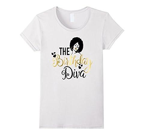 Womens Black Girl Magic Birthday Diva Shirt Gold Party Gift Medium White - Divas Womens Shirts