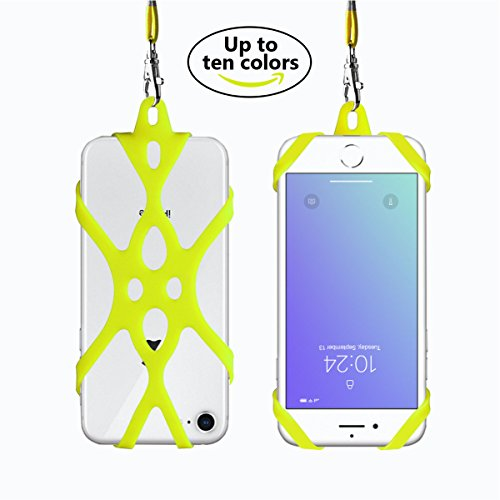 Cell Phone Carriers Holder Lanyard Silicone Lanyard Smart Phone Case Cover with Detachable Necklace Wrist Strap for iPhone X 6 6s 7 Plus 8 8 Plus Samsung Galaxy S8 Plus S6 S7 S8 Note 5 (Kelly)