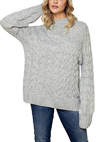 Dokotoo Womens Ladies Oversized Thick Winter Fall Cozy Chunky Soft Cable Knit Long Sleeve High Turtle Neck Casual Sweater Pullover Tops Grey Medium