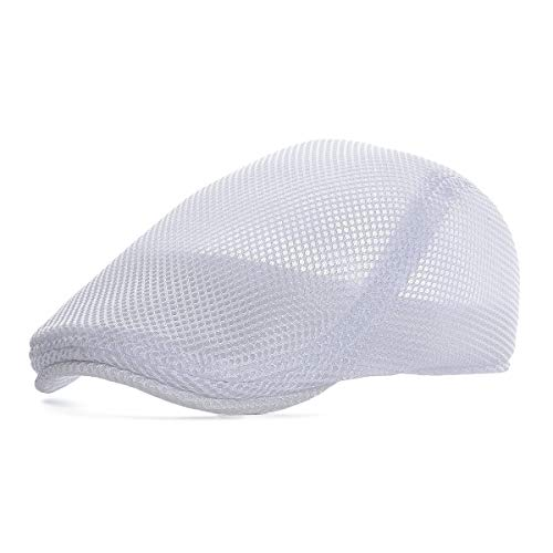 VOBOOM Men Breathable mesh Summer hat Newsboy Beret Ivy Cap Cabbie Flat Cap (Style3- White)