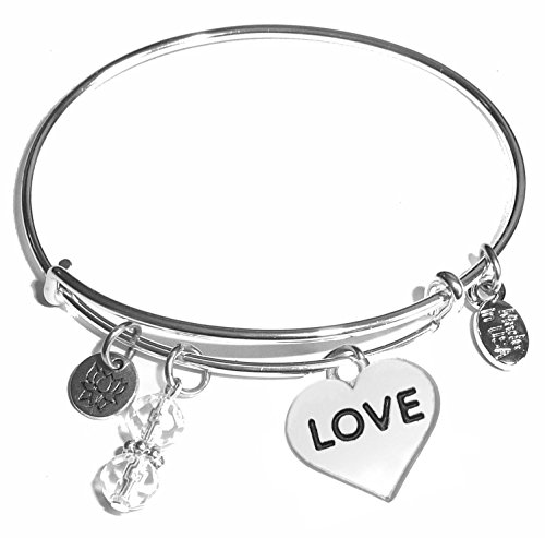 Message Charm (Choose Message) Expandable Wire Bangle Bracelet, in the Popular Style (Love)