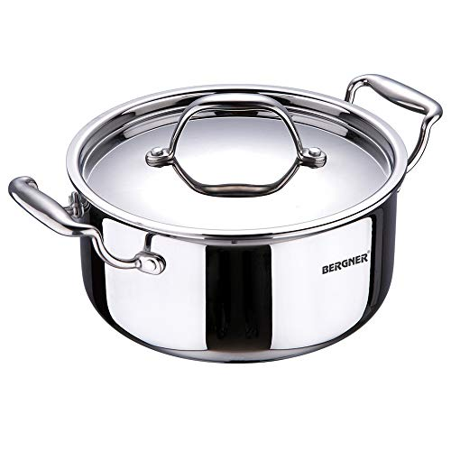 Bergner-Argent-Tri-Ply-Stainless-Steel-Casserole-with-Stainless-Steel-Lid-20-cm-31-Litres-Induction-Base-Silver