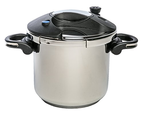 Base Encapsulated (ExcelSteel 598 Professional Pressure Cooker, 7.5 QT, 18/10 Stainless Steel W/ Encapsulated Base, Multiple Safety Designs to Ensure Safe Use)