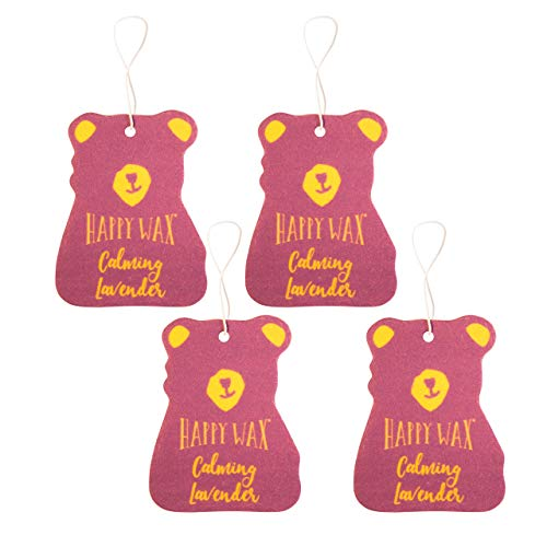 Happy Wax Scented Hanging Car Cub Air Freshener - Scented Car Freshener Infused with Natural Lavender Essential Oils! - Cute Car Freshener 4-Pack (Calming Lavender)