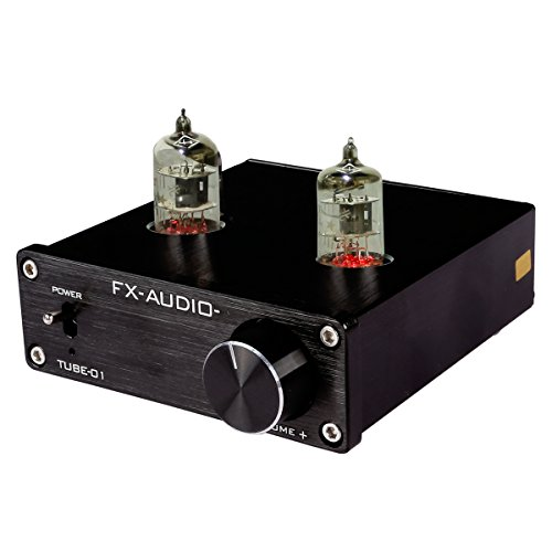 JouerNow FX Tube-01 Pre-Amplifier HIFI Stereo Buffer Preamp, with Mini 6J1 Valve & Vacuum Tube, 12V (black) by FeiXiang