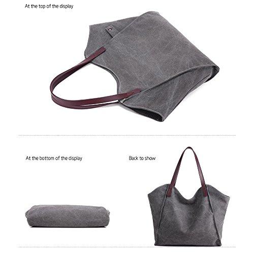 Casual Grey Women Shoulder Handbag Bag Shopping Large Tote Canvas Artwell Hobo Travel Capacity Bag for Work qXxZSt
