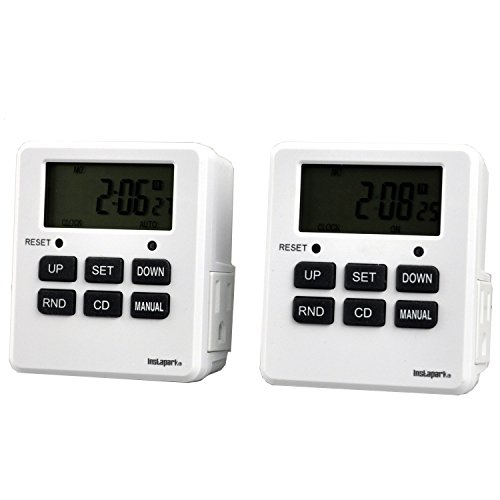 2 Pack Digital Programmable Timer TUE-19 with 7 Day, Dual Outlet, 3 Prong Socket Plug In for Heavy Duty, Indoor Use Instapark