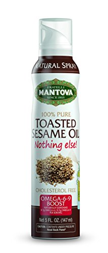 Mantova Toasted Sesame Oil Spray 5 oz. Spray Bottle - Manage Oil Amount - Great For Salads & Cooking