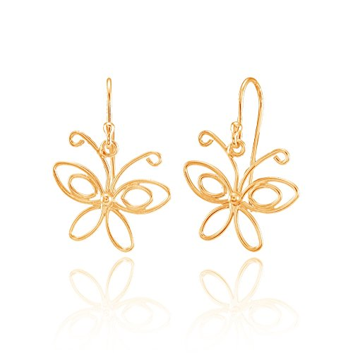 g Silver Open Butterfly Lightweight Dangle Earrings ()
