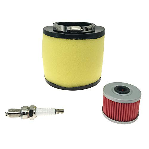Air Filter & Oil Filter & Spark Plug for 1995-2004 Honda Foreman 400 450 TRX400 TRX450 2000-2006 Honda Rancher 350 TRX350 Replace OE # 17254-HN5-670