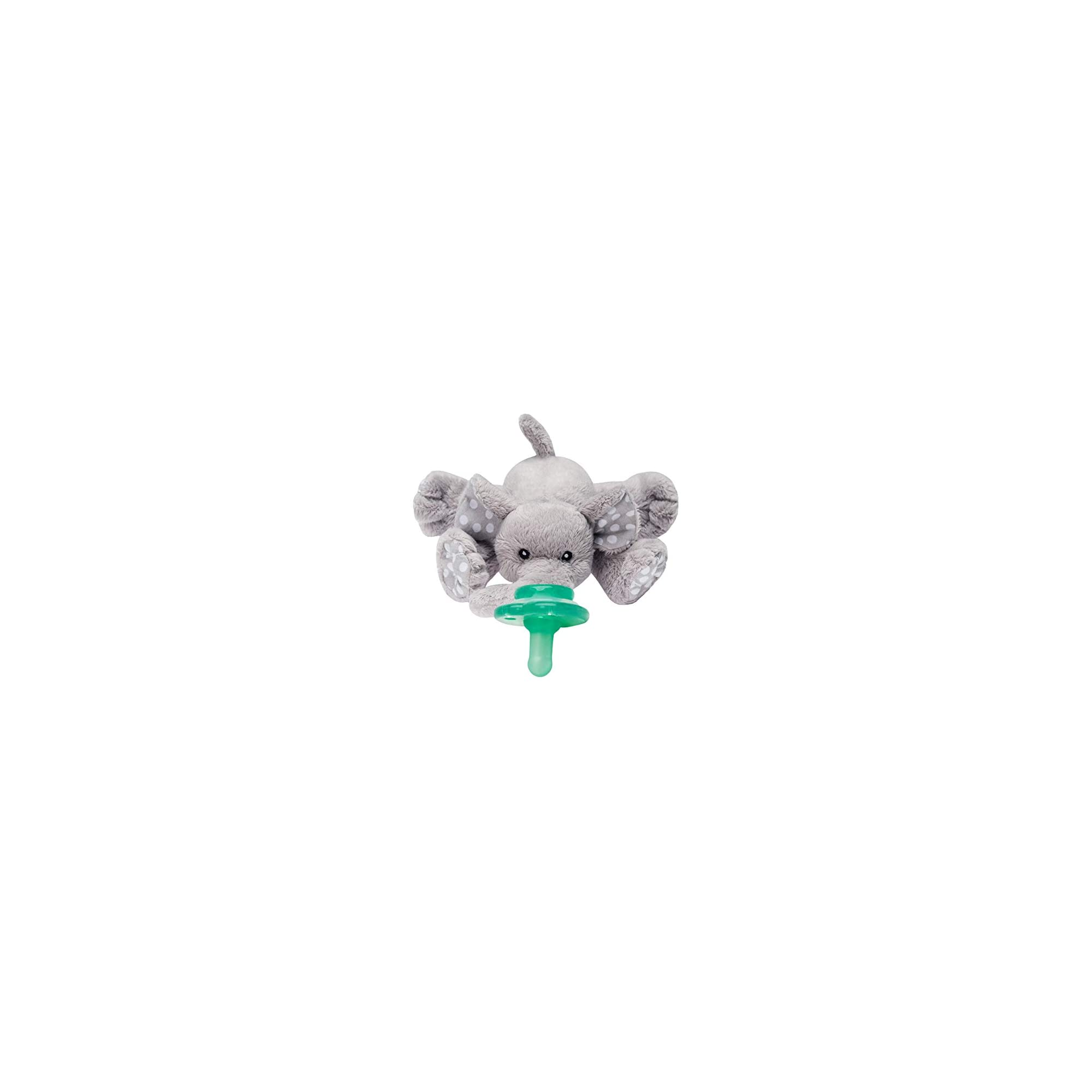 Nookums Paci-Plushies Buddies – Elephant Pacifier Holder – Adapts to Name Brand Pacifiers, Suitable for All Ages, Plush Toy Includes Detachable Pacifier