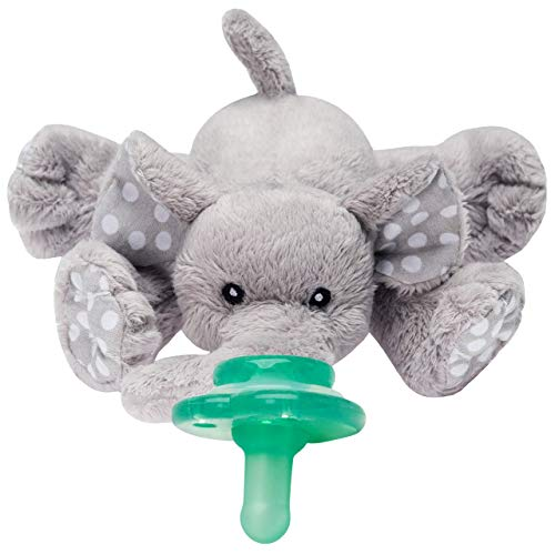 Nookums Paci-Plushies Buddies Pacifier Holder - Plush Toy Includes Detachable Pacifier, Use with Multiple Brand Name Pacifiers (Elephant)