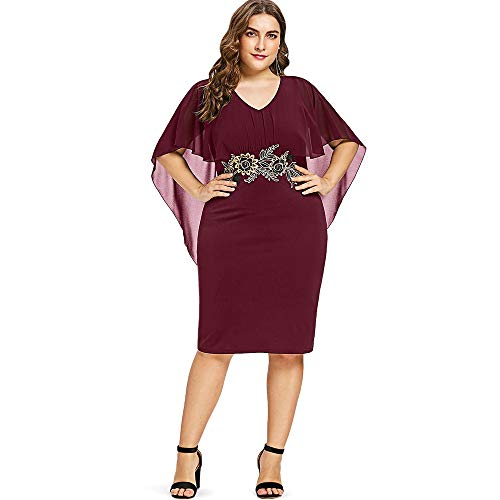 KCatsy Plus Size Embroidery Capelet Dress for Women Red ()