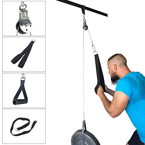 Elikliv DIY Pulley Cable Machine Attachment System 1.4M Length Forearm Wrist Roller Trainer Arm Strength Training…