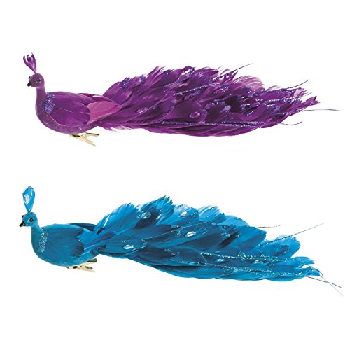 Cypress Home Glittery Peacock Clip-On Ornaments, Set of 2