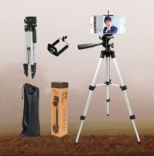 Rudrit Professional Adjustable Aluminum Alloy Tripod Stand Holder for Mobile Phones & Camera, 360 mm -1050 mm, 1/4 inch Screw + Mobile Holder Bracket