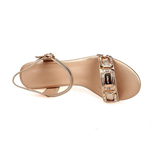 Allhqfashion Damesgesp Open Teen Kitten-hakken Rundleder Massief Sandalen Goud