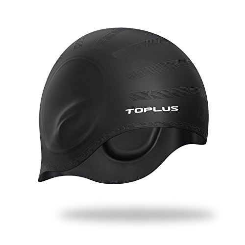 TOPLUS Swim Cap, Lightweight Silicone Solid Swimming Caps with 3D Ergonomic Design Ear Pockets for All Ages and All Hair Lengths, Great Elasticity and No Deformation, Comes With Nose Clip & Ear Plugs