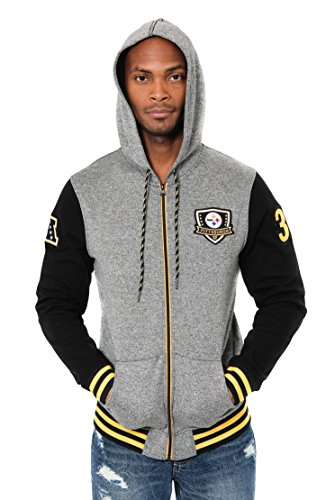 sburgh Steelers Men's Full Zip Fleece Hoodie Letterman Varsity Jacket, X-Large, Black ()