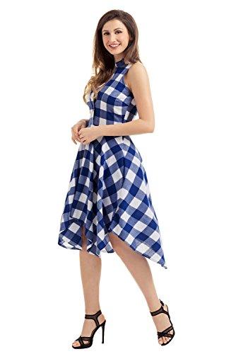 Gludear - Shorts - camisa - Cuadrados - para mujer Azul