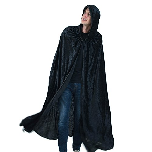 Everfan Black Hooded Cape | Cloak with Hood for Halloween, Cosplay, Costume, Dress Up -
