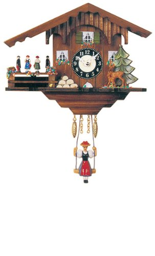 Miniature Quartz Swinging Doll Cuckoo Clock with Dancing Couples, 6 Inch