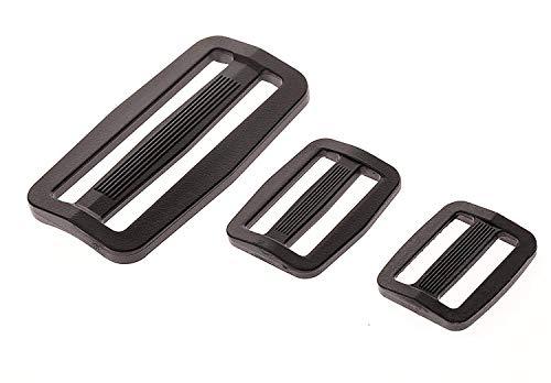 Plastic Buttons Bag - Shapenty 0.75Inch /1Inch /2 inch Black Plastic Tri-Glide Slides Button Adjustable Webbing Triglides Slider Buckle Bulk for Belt Backpack and Bags, 3 Sizes, 50PCS