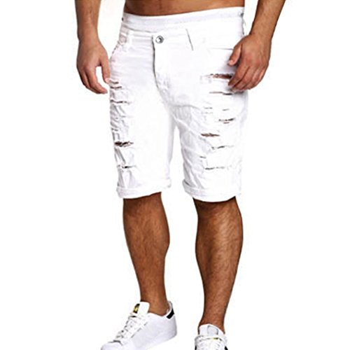 PASATO 2018 New Hot Men's Casual Jeans Destroyed Knee Length Hole Ripped Cotton Pants (White, M)