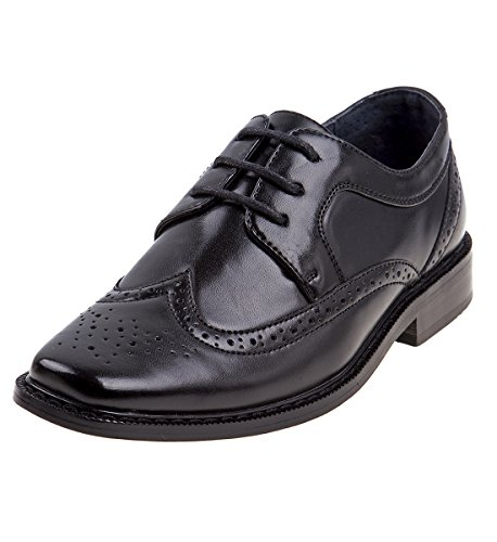 Joseph Allen Boy's Wing Tip Oxford Accouter Shoe, Black, 9 M US Toddler