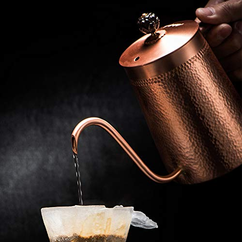 JunHenglr Stainless Steel Coffee Pot, Household Copper Anti-Scalding Handle Coffee Drip Kettle Cup Teapot Container Bronze by JunHenglr (Image #2)