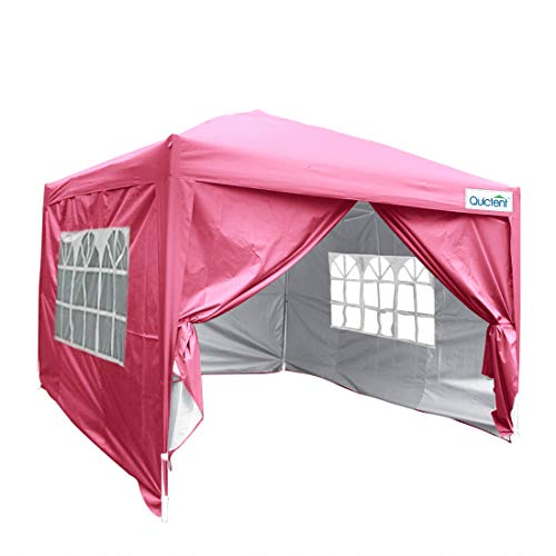 Quictent Silvox 10x10 EZ Pop Up Canopy Tnet Party Tent Instant Gazebo with 4 Walls & Roller Bag 100% Waterproof (Pink)